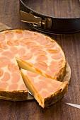 Mandarin cheesecake, sliced