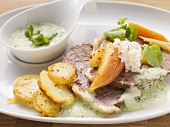 Prime boiled beef with fried potatoes and cress sauce