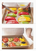 Peppers being skin (oven method)
