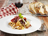 Spaghetti con la bresaola (pasta with Bresaola, Italy)