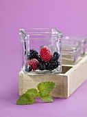 Forest fruits in a glass bowl