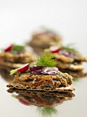 Crispbread with herring and onions
