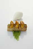 Caramelised apples on shortcrust pastry with sorrel marzipan and crème fraîche ice cream