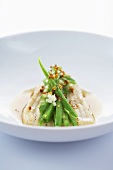 Ray fish in lentil broth with green beans