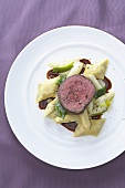 Fillet of mountain ox with asparagus and ravioli