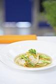 Lemongrass essence with prawn wontons