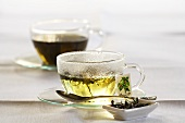 Mulberry tea in glass cups