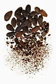 Cocoa beans, some crushed