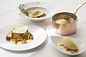 Lasagne, semolina gnocchi and ravioli with chanterelle mushrooms