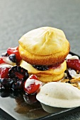 Quark dalken (Czech pancakes) with forrest fruits and Grand-Marnier ice cream