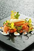 Crayfish salad with pumpkin and sour cream tartlet