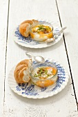 Eggs in a glass bowl with cress