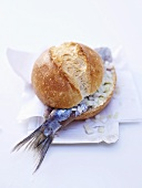 Soused herring roll with onions