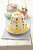 Paskha (quark dessert, Poland) with candied fruits for Easter