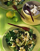 Courgette salad with lime, feta and mint