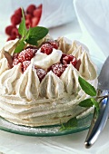 Raspberry pavlova (meringue dessert)
