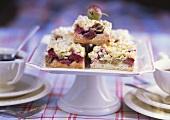 Gooseberry and rhubarb crumble cake