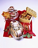 Marzipan and poppy seed stollen, gingerbread, muffins etc.