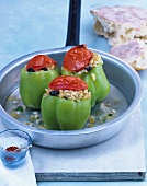 Green peppers stuffed with rice