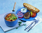 Chick-pea stew with peppers and grilled burger