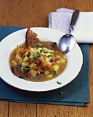 Holledau bread stew with vegetables and onions, Bavaria
