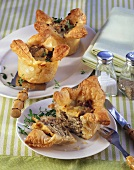 Small lamb and mushroom pasties with Cheddar cheese