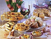Spring brunch buffet with sweet and savoury baked goods