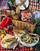 Irish picnic: sandwiches, potato salad, scones and muffins