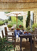 A laid breakfast table in the open air