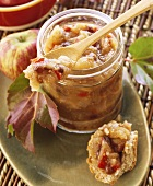 Apple chutney with raisins and diced peppers