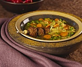 Rice and vegetable stew with minced lamb kebab