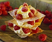 Tower of filo pastry and raspberries