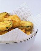 Deep-fried courgette slices in batter