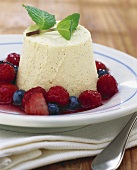 Bavarian cream with berry compote
