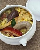 Hearty 'Schlachtschüssel' (bacon, sausage, black pudding, sauerkraut)