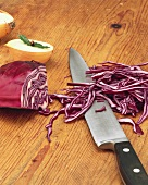 Shredded section of red cabbage
