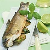 Grilled charr with lime