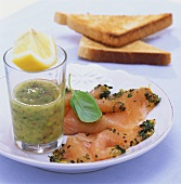 Charr, gravlax style, with basil and mustard sauce