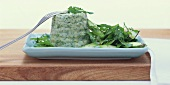 Fish and chervil terrine on rocket and asparagus salad