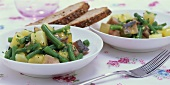 Potato and bean salad with matjes herring fillets