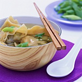 Broth with prawn wontons