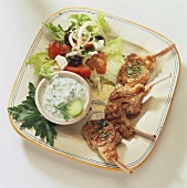 Lamb cutlets with tzatziki and peasant's salad (Greece)