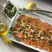 Veal carpaccio (Raw, marinated slices of veal)