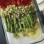 Green asparagus with egg vinaigrette & air-dried beef