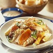 Vegetable ragout with tahini (sesame sauce)