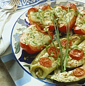 Stuffed peppers and courgettes