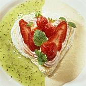 Meringue heart with strawberry cream & fresh strawberries