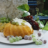 Bundt cake soaked in sherry with grapes