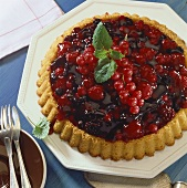 Mixed berry flan (Mixed berries on sponge base)