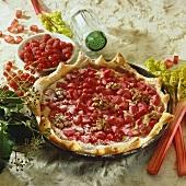 Rhubarb, berry and walnut puff pastry tart
